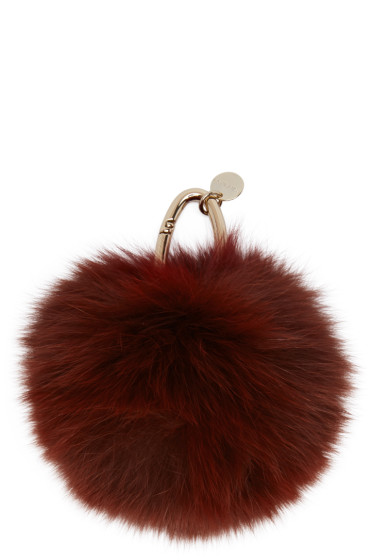 Yves Salomon - Burgundy Fur Keychain