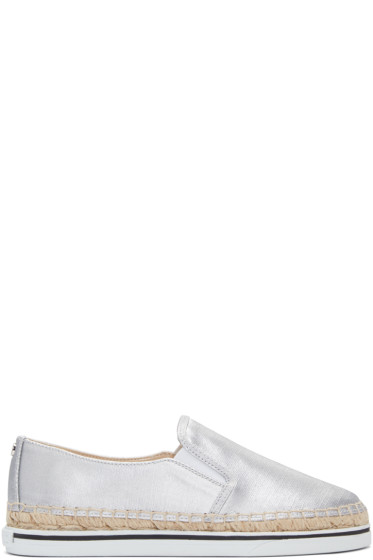 Jimmy Choo - Silver Canvas Dawn Espadrilles