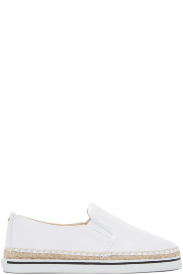 Jimmy Choo - White Wetlook Canvas Dawn Espadrilles
