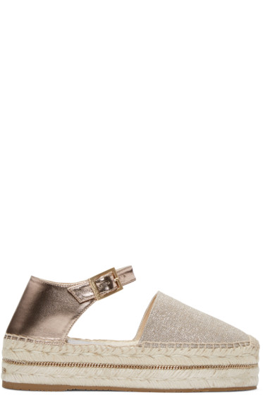 Jimmy Choo - Beige Metallic Canvas Delfine Espadrilles