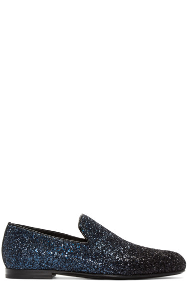 Jimmy Choo - Navy & Black Glitter Sloane Loafers