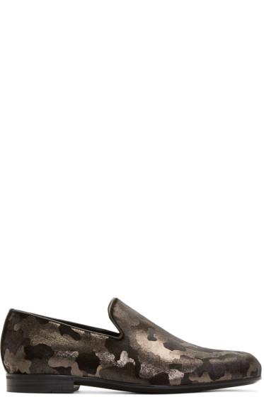 Jimmy Choo - Gunmetal Camouflage Sloane Loafers