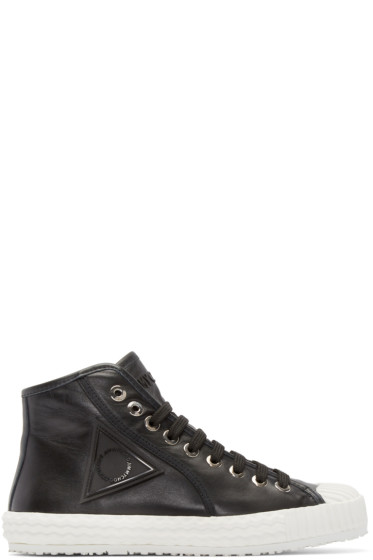 Jimmy Choo - Black Leather Seb High-Top Sneakers
