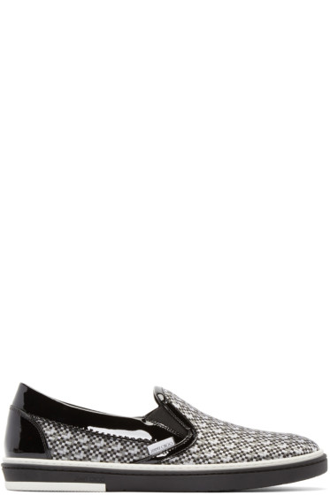 Jimmy Choo - Black & Grey Mosaic Grove Sneakers
