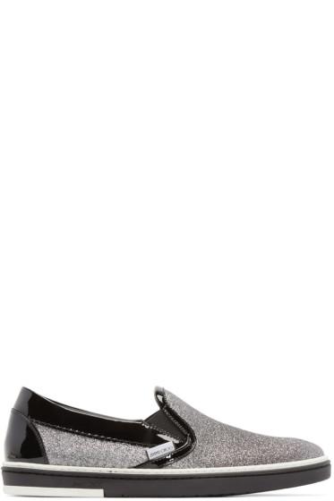 Jimmy Choo - Black & Silver Glitter Grove Sneakers
