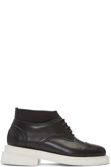 D.Gnak by Kang.D - Black Leather & Neoprene Boots