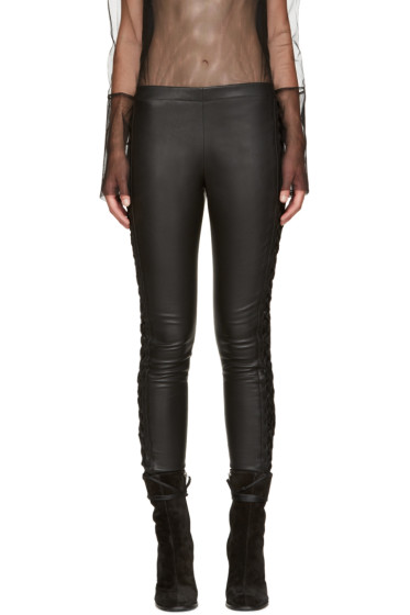 Haider Ackermann - Black Leather Lace-Up Trousers