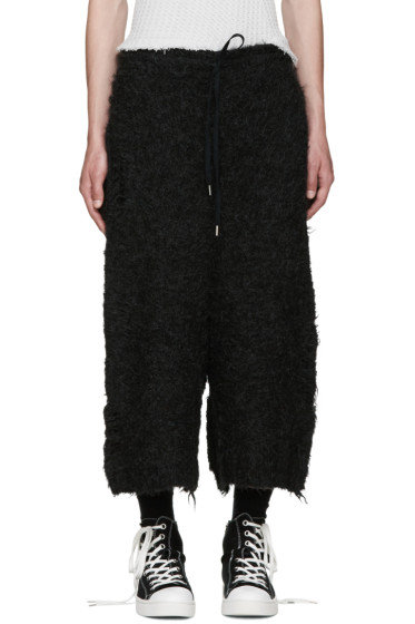 Miharayasuhiro - Black Alpaca Distressed Shorts