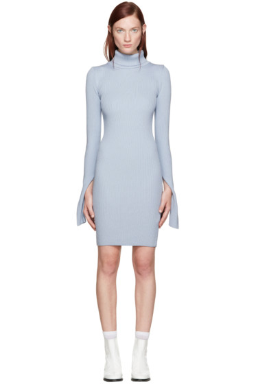 Jacquemus - Blue Ribbed Turtleneck Dress
