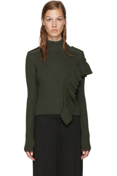 Each x Other - Green Ruffled Sweater