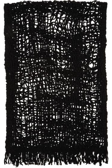 Yohji Yamamoto - Black Wool Open Knit Stole