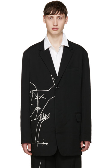 Yohji Yamamoto - Black Embroidered Blazer
