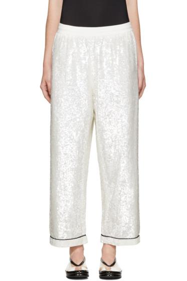 Ashish - SSENSE Exclusive Ivory Sequin Pyjama Lounge Pants