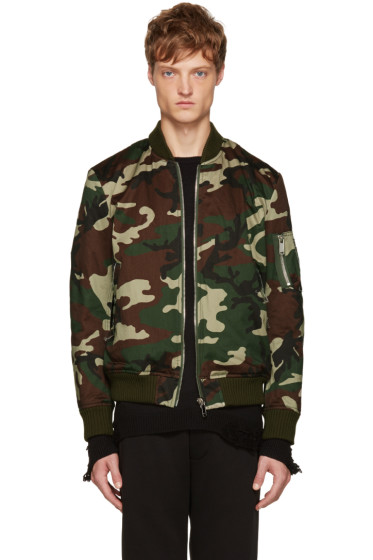 Christian Dada - Green Camo Araki Patch Bomber Jacket