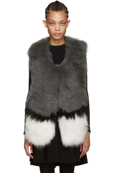 Yves Salomon - Grey Knit Fur Vest
