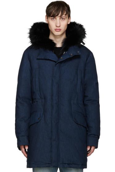 Yves Salomon - Navy Denim Down & Fur Parka