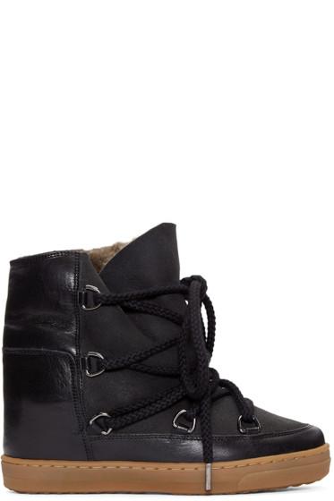Isabel Marant - Black Sheepskin Nowles Boots