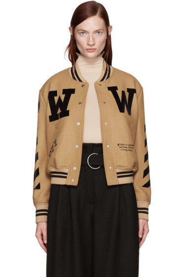 Off-White - Tan Varsity Bomber Jacket