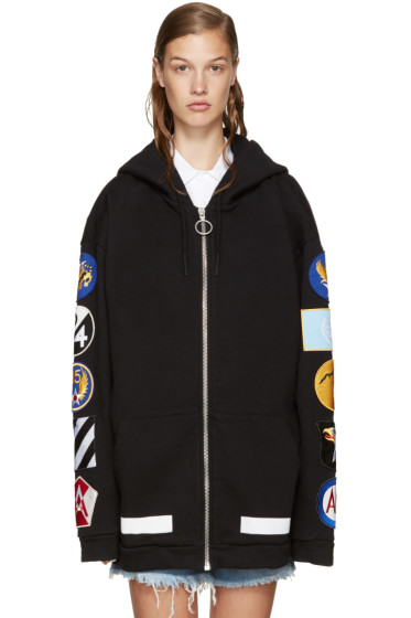 Off-White - Black Patches Zip Hoodie
