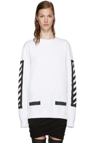 Off-White - White Brushed Diagonals Pullover