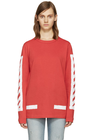 Off-White - Red Brushed Diagonals T-Shirt