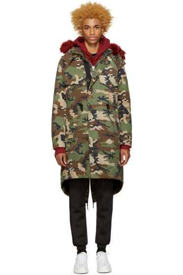 Off-White - Green Camouflage Parka