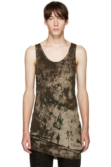 11 by Boris Bidjan Saberi - Green Camo Wash Tank Top