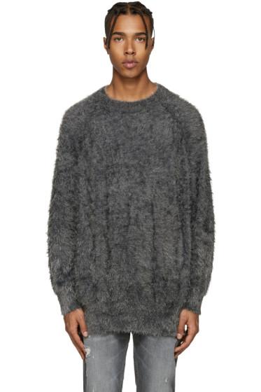 Diet Butcher Slim Skin - Grey Oversized Shaggy Pullover