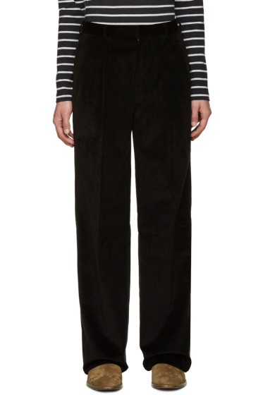 Johnlawrencesullivan - Black Corduroy Wide-Leg Trousers