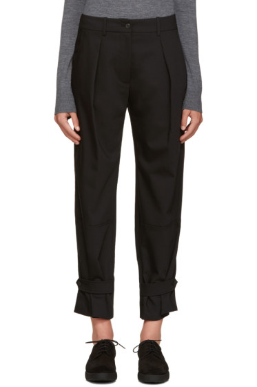 Jil Sander Navy - Black Wide-Leg Pleated Trousers