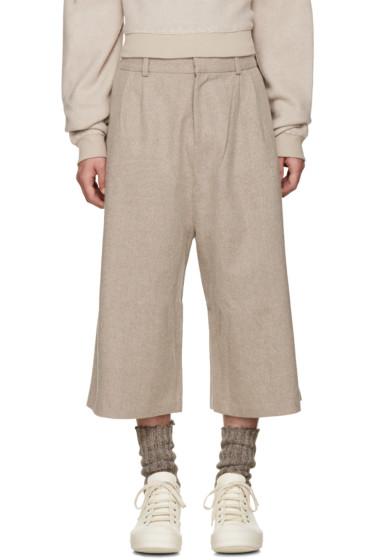D by D - Beige Wide-Leg Wool Trousers