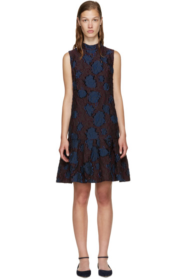 Erdem - Burgundy & Navy Nena Dress