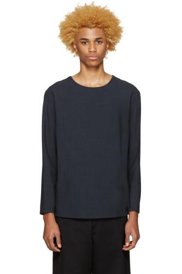 Lemaire - Blue Wool Seersucker Pullover