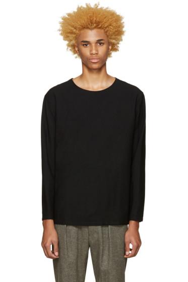 Lemaire - Black Wool Seersucker Pullover