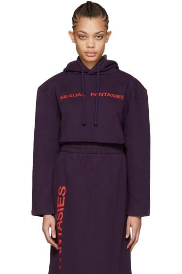Vetements - SSENSE Exclusive Purple 'Sexual Fantasies' Football Shoulder Hoodie