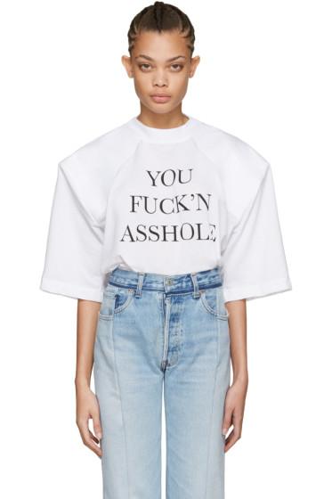 Vetements - White 'You Fuck'n Asshole' Football Shoulder T-Shirt