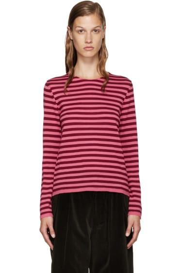 Comme des Garçons Girl - Pink & Burgundy Wool Sweater