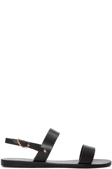 Ancient Greek Sandals - Black Leather Clio Sandals