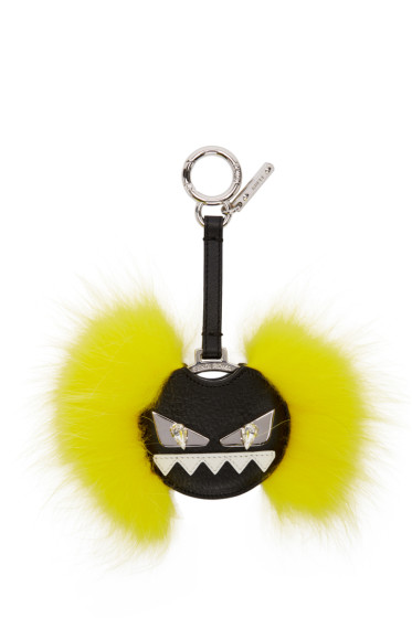 Fendi - Black & Yellow Fur Monster Keychain