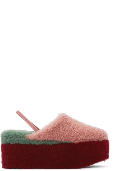 Fendi - Pink Shearling Platform Sandals