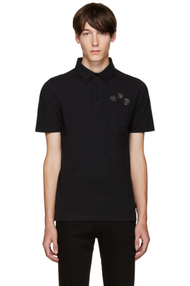 Fendi - Black Appliqué Polo