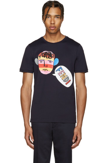 Fendi - Navy Talking Head T-Shirt