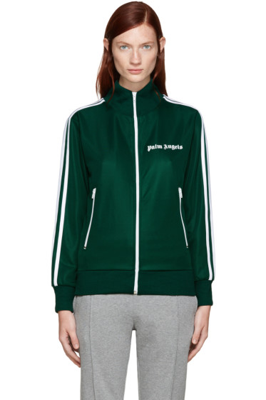 Palm Angels - Green Track Zip-Up Sweater