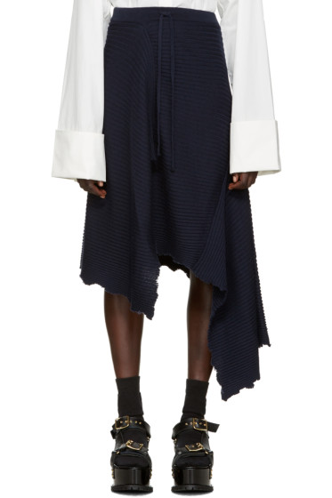 Marques Almeida - Navy Ribbed Merino Skirt