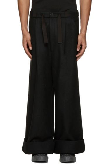 Kidill - Black Cuffed Wide-Leg Trousers
