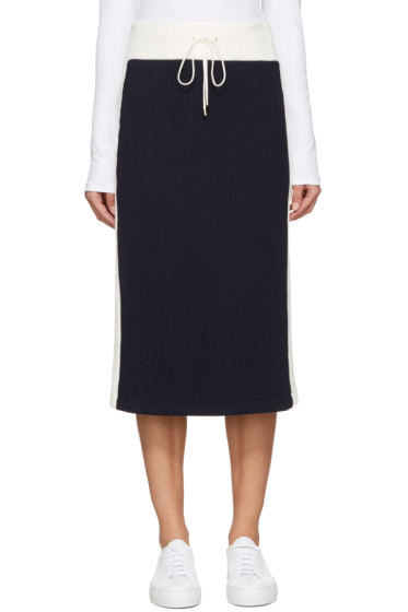 Atea Oceanie - Navy & Ivory Ribbed Skirt