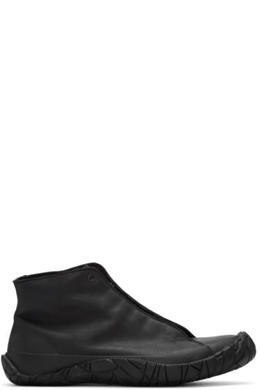 Issey Miyake Men - Black Leather High-Top Sneakers