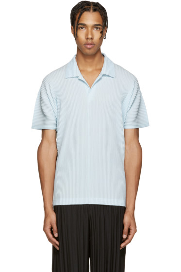 Homme Plissé Issey Miyake - Blue Pleated Polo