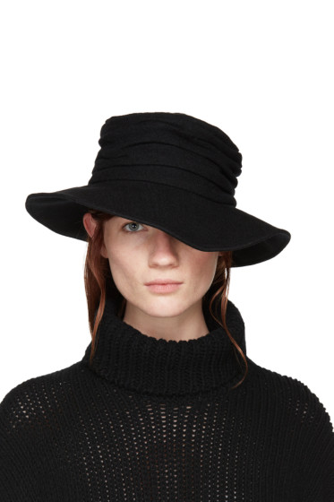 Y's - Black Wool Cloche Hat