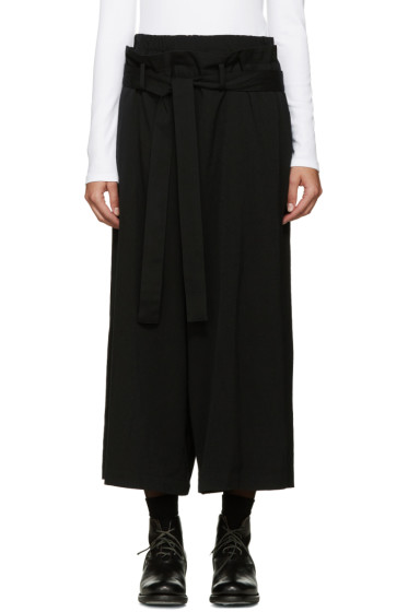Y's - Black Twill U-Belted Trousers